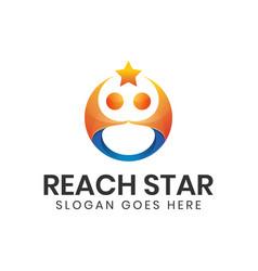 Modern reaching star logo people star logo design vector