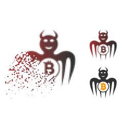 Moving dot halftone bitcoin happy spectre devil vector