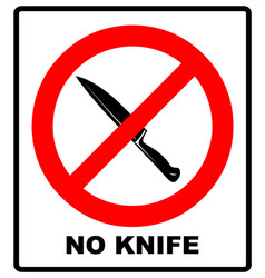 no knife no weapon prohibition sign sign on white vector image