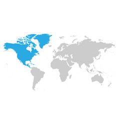North america continent blue marked in grey vector