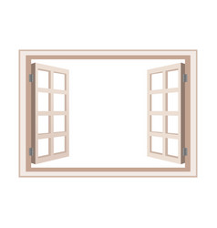 open window frame wooden design vector image