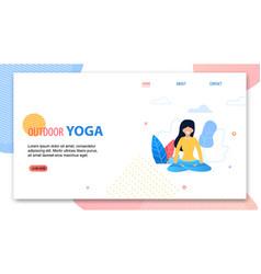 Outdoor yoga cartoon woman in lotus position vector