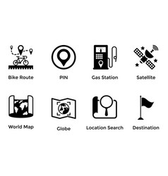 pack of maps and navigation glyph icons 5 vector image