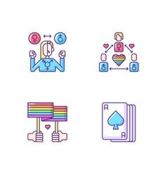 Partner choice rgb color icons set vector
