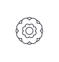 peony flower line icon concept peony flower flat vector image