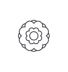 peony flower line icon concept peony flower flat vector image