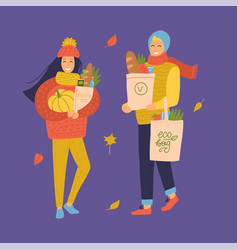 people go shopping from grocery store set vector image