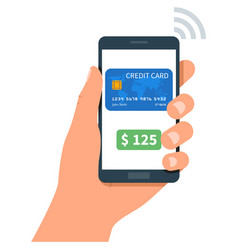 Phone in human hand nfc mobile payment vector