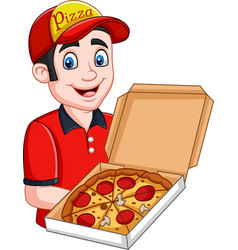 pizza deliveryman holding open cardboard box with vector image