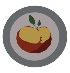 Portrait a decorative apple on a plate or color vector