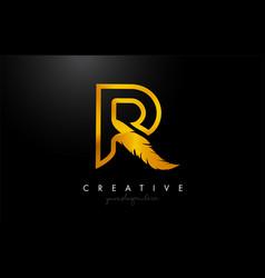 R golden gold feather letter logo icon design vector