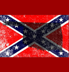 Rebel civil war flag with oklahoma map vector