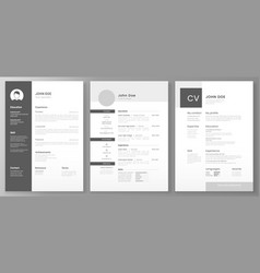 resume template cv professional or designer jobs vector image