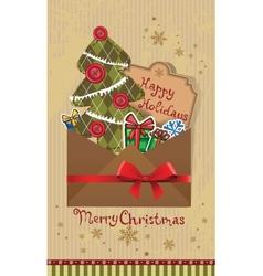 Scrapbook Christmas greeting card vector image
