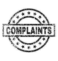 Scratched textured complaints stamp seal vector