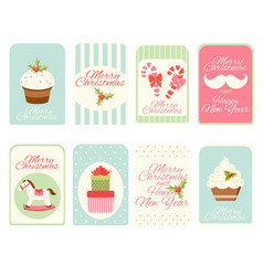 set christmas vertical gift tag card badge vector image