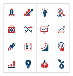 set color icons start-up vector image