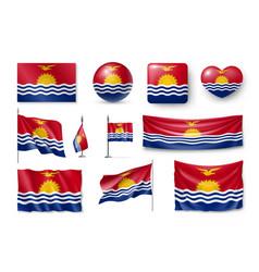 Set kiribati realistic flags banners banners vector