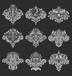 Set of ornamental elements for design in coats of vector