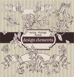 Set of vintage magic fairytale floral design vector image