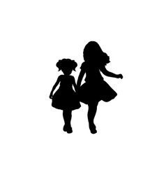 silhouettes two girls sisters friends vector image