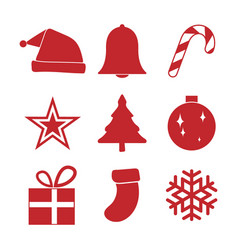 simple red christmas ornament icon set vector image