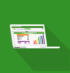 spreadsheet on laptop screen flat icon financial vector image