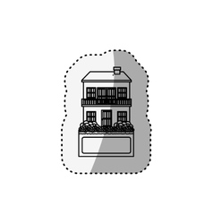 sticker silhouette house with two floors and vector image vector image