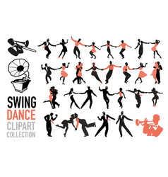 Swing dance clipart collection set swing vector