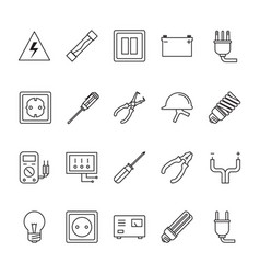 Thin line electrical icon set vector