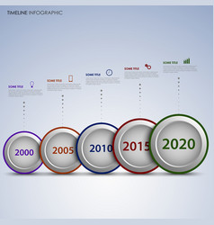 time line info graphic with round labels vector image