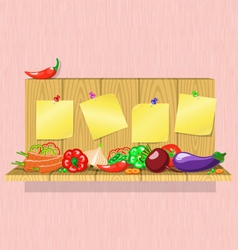 vegetables on the shelf with stickers vector image