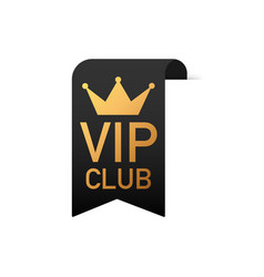Vip club text on black ribbon on white background vector