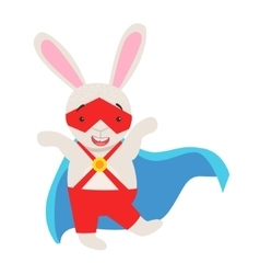 White Bunny Animal Dressed As Superhero With A vector