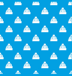 winter hat pattern seamless blue vector image