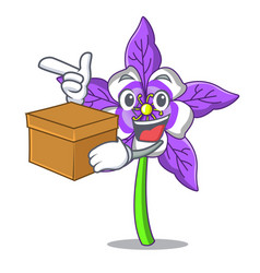 With box columbine flower character cartoon vector