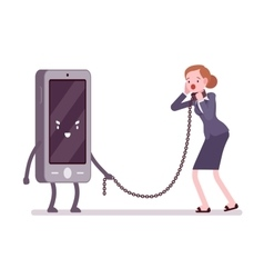Woman is slaved by her smartphone vector