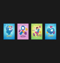 world autism awareness day posters vector image