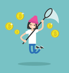 Young female character mining bitcoins conceptual vector