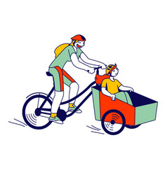 Young woman with child characters riding bike with vector