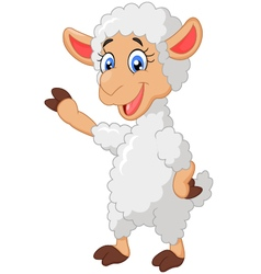 Cartoon sheep waving hand vector image