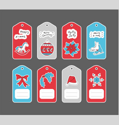 christmas gift tags set with hand drawn stickers vector image vector image