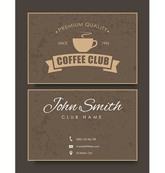 coffee card template in retro style with texture vector image