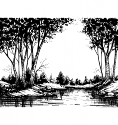 Lake in the birch forest vector