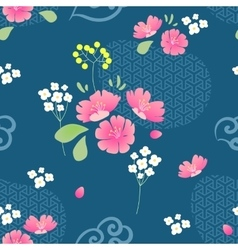 Abstract Flowers Seamless pattern with navy vector image