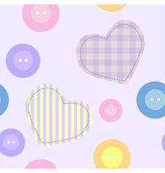 Background with hearts and buttons vector image vector image