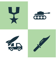 battle icons set collection of order ordnance vector image