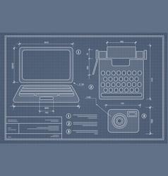 blueprint plan outline draft personal computer vector image