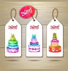 Set of art cake or dessert banners vector image