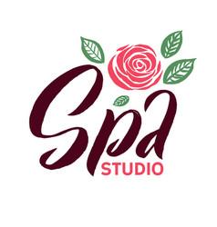 spa studio logo stroke pink rose flower vector image vector image